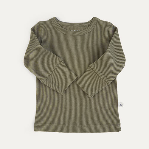 Khaki KIDLY Label Organic Ribbed Tee